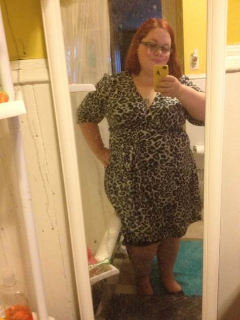 OOTD: snow leopard Kiyonna wrap dress