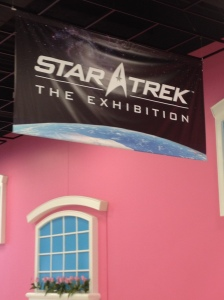 Star Trek: The Exhibition sign over Barbie pink walls